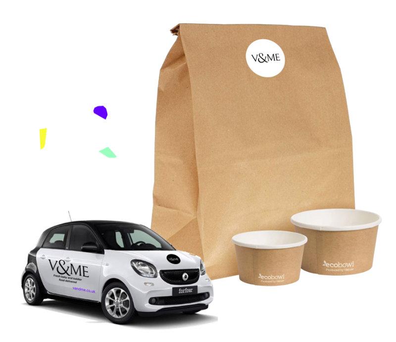 V&Me packaging, branded car and pots